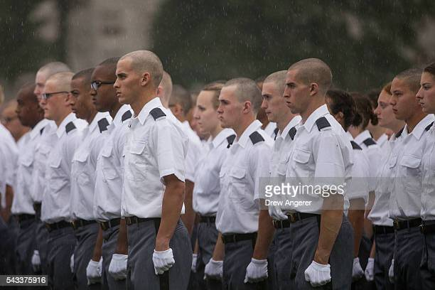 New cadets stand in formation during the Oath of Allegiance ceremony during Reception Day at the United States Military Academy at West Point June 27...