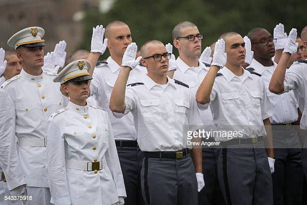New cadets take the Oath of Allegiance during Reception Day at the United States Military Academy at West Point June 27 2016 in West Point New York...