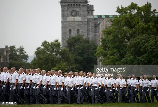 New cadets walk across 'The Plain' at the start of the Oath of Allegiance ceremony during Reception Day at the United States Military Academy at West...