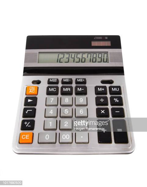 New calculator with numbers on screen, isolated on white background