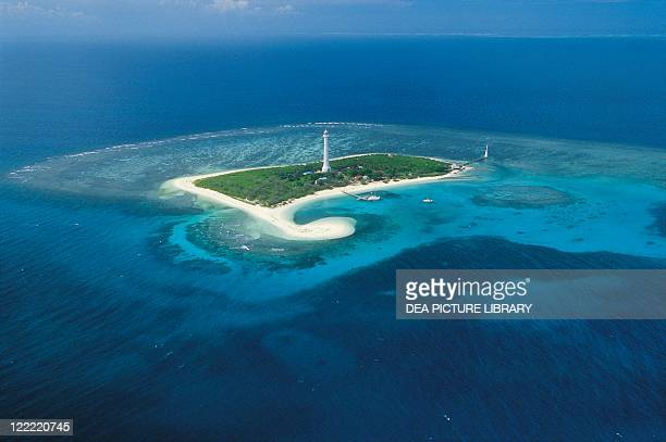 New Caledonia - Atoll - Amédée Lighthouse marks entrance channel to coral reef.