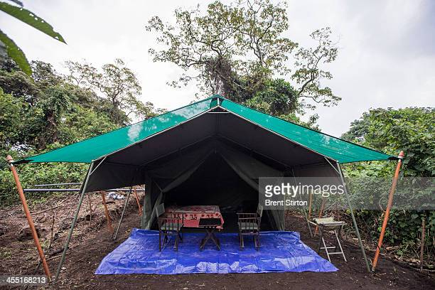 A new camp constructed for visitors to the gorilla sector of Virunga National Park on August 2 2013 in Bukima DR Congo UK company Soco International...