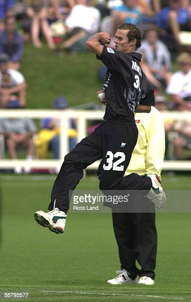 New cap Chris Martin comes into bowl during the first one day cricket international between The Black Caps and Zimbabwe at Owen Delany Park Taupo...