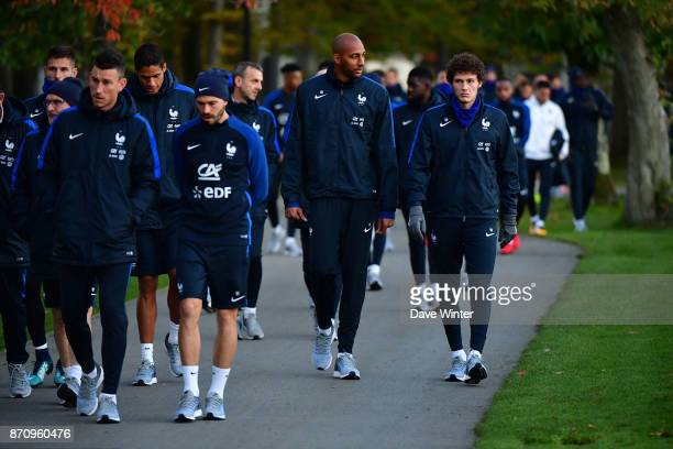 New caps Benjamin Pavard of France and Steven Nzonzi of France arrive for the training session at the Centre National de Football in Clairefontaine...
