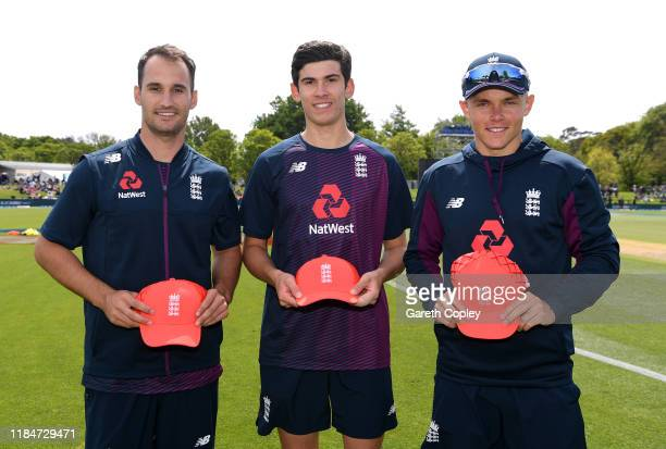 New caps Lewis Gregory Pat Brown and Sam Curran are presented with their IT20 caps ahead of game one of the Twenty20 International series between New...