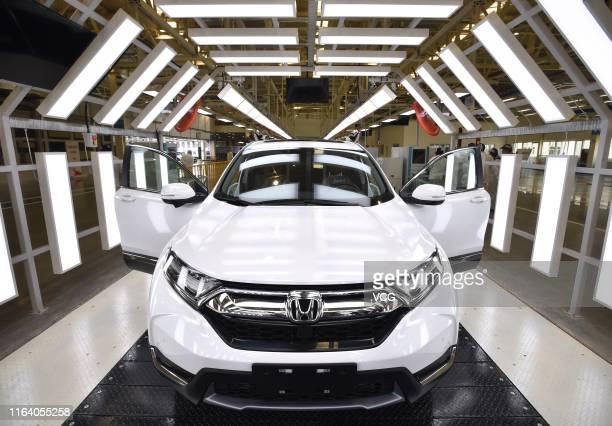 New car is pictured at Dongfeng Honda's third factory on April 12, 2019 in Wuhan, Hubei Province of China.