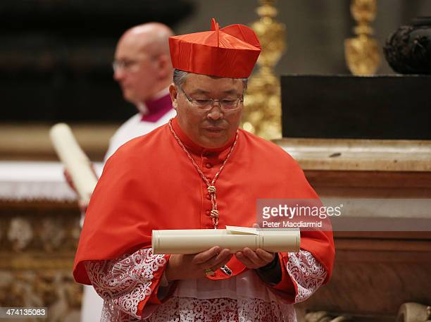 New Cardinal Andrew Yeom SooJung attends the Consistory at St Peter's Basilica on February 22 2014 in Vatican City Vatican 19 new cardinals have been...