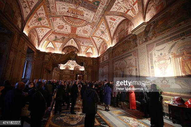 New Cardinal Beniamino Stella greets visitors in the Apostolic Palace on February 22 2014 in Vatican City Vatican 19 new cardinals were created by...