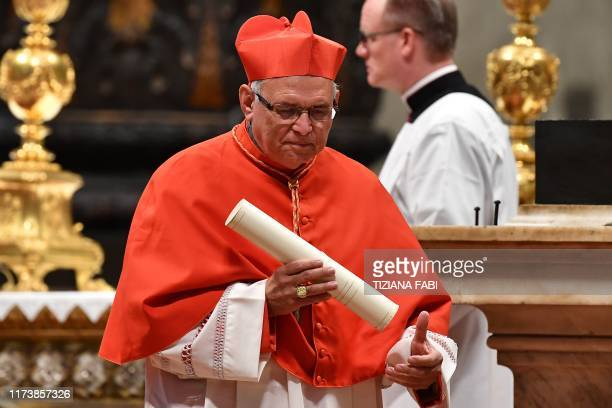 New Cardinal Guatemalan prelate Alvaro Leonel Ramazzini Imeri recats after he was appointed by the Pope during an Ordinary Public Consistory for the...