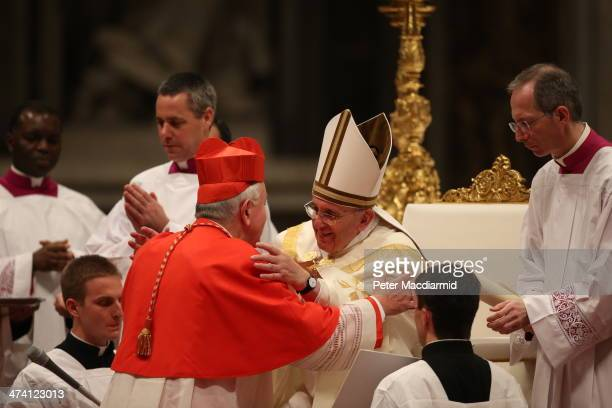 New Cardinal Vincent Nichols receives his Biretta from Pope Francis at Saint Peter's Basilica on February 22 2014 in Vatican City Vatican Pope...