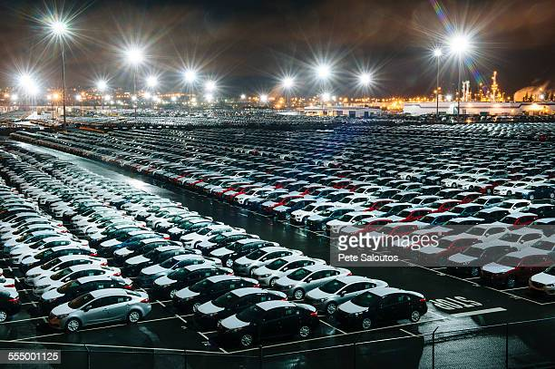 new cars in lot - abundance stock pictures, royalty-free photos & images