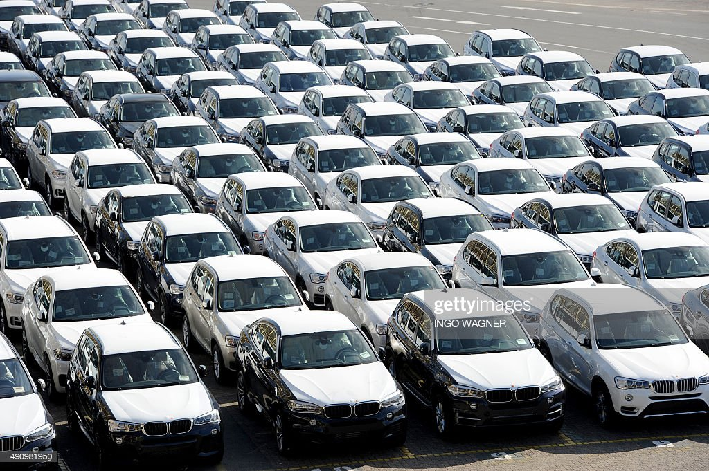 New Cars Of German Car Maker BMW Are Parked Ready For Shipping At The Car  Terminal