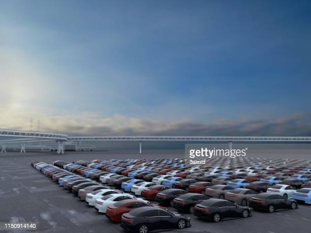 nieuwe auto's - grote groep dingen stockfoto's en -beelden
