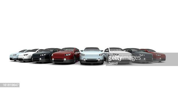 new cars - in a row stock pictures, royalty-free photos & images