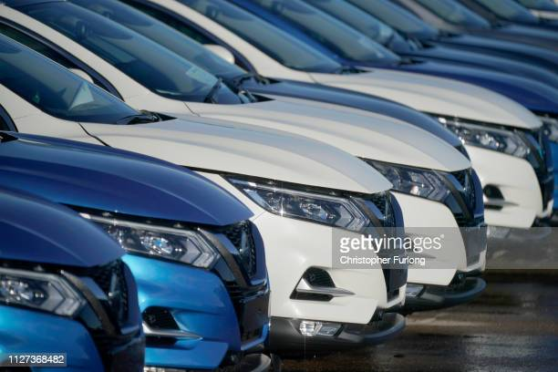 New cars wait for distribution at the Sunderland car assembly plant of Nissan on February 04 2019 in Sunderland England Nissan has announced to...