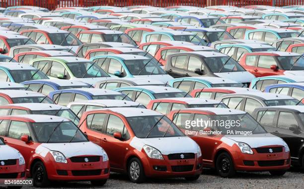 New cars waiting at the docks in Avonmouth port near Bristol