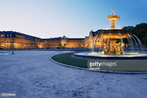 new castle stuttgart blue hour - stuttgart stock pictures, royalty-free photos & images