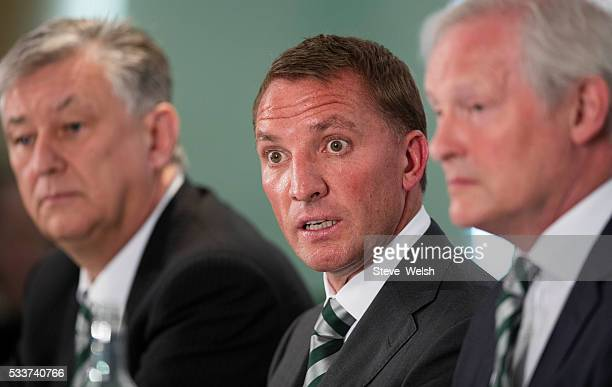 New Celtic Manager Brendan Rodgers speaks during a press conference at Celtic Park Glasgow on May 23 2016 in Glasgow Scotland
