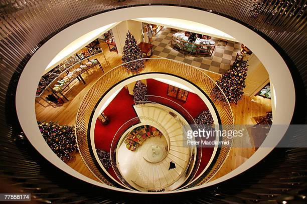 A new central staircase decends to the fresh food hall at Fortnum amd Mason on October 30 2007 in London London's most famous food shop will...