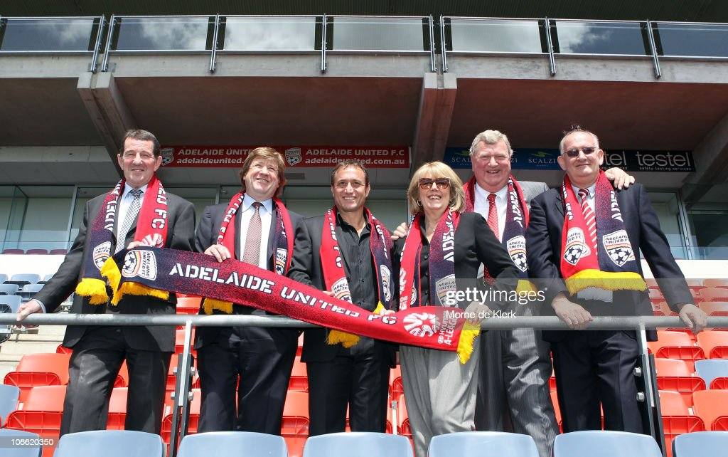 New CEO Glenn Elliott, owners Greg Griffin, Bruno Marveggio, club patron Faye Gerard, owners Robb Gerard and Dr Richard Noble of the Adelaide United Football Club pose after a press conference at Hindmarsh Stadium on November 8, 2010 in Adelaide, Australia.