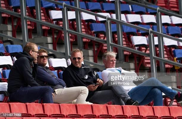 New CEO of FC Copenhagen and Parken Sport and Entertainment PSE Lars Bo Jeppesen left Daniel Rommedahl and Johan Lange during the friendly match...