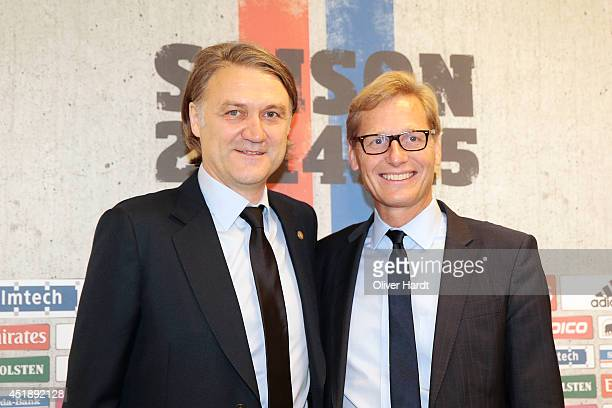 New Chairman Dietmar Beiersdorfer and Karl Gernandt of Hamburger SV attends a press conference at Imtech Arena on July 9, 2014 in Hamburg, Germany.