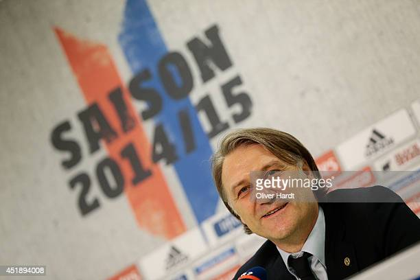 New Chairman Dietmar Beiersdorfer of Hamburger SV attends a press conference at Imtech Arena on July 9, 2014 in Hamburg, Germany.