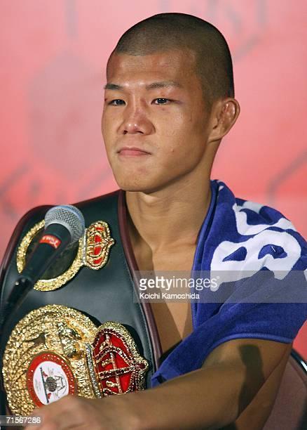 New champion Koki Kameda of Japan attends a press conference after defeating Juan Jose Landaeta of Venezuela in the World Boxing Association light...