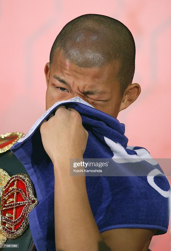 New champion Koki Kameda of Japan attends a press conference after defeating Juan Jose Landaeta of Venezuela in the World Boxing Association light flyweight title bout at Yokohama Arena on August 2, 2006 in Yokohama, Japan.