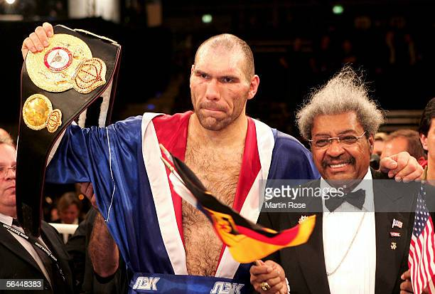 New Champion Nicolai Valuev of Russia and boxing promoter Don King pose after the WBA Heavyweight Fight between John Ruiz and Nicolai Valuev at the...