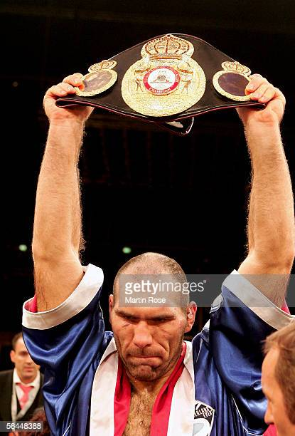 New Champion Nicolai Valuev of Russia presentes the belt after winning the WBA Heavyweight Fight against John Ruiz of the USA at the Max-Schmeling...