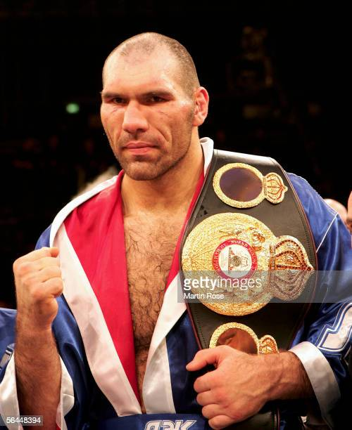 New Champion Nicolai Valuev of Russia presents the belt after winning the WBA Heavyweight Fight against John Ruiz of the USA at the Max-Schmeling...