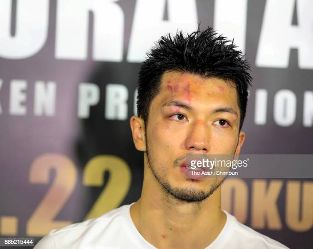 New champion Ryota Murata of Japan speaks during a press conference after beating Hassan N'Dam of France in the WBA Middleweight Title Bout at...