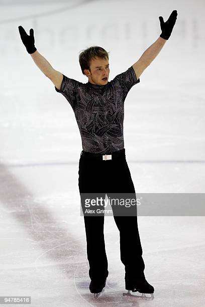 New champion Stefan Lindemann celebrates after his performance at the men's free skating during the German Figure Skating Championships 2010 at the...