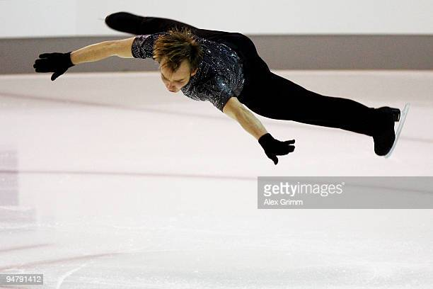 New champion Stefan Lindemann performs during the men's free skating at the German Figure Skating Championships 2010 at the SAP Arena on December 18...