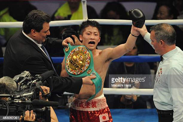 New championNaoya Inoue celebrates the victory after the WBC light flyweight title bout between Adrian Hernandez of Mexico v Naoya Inoue of Japan at...