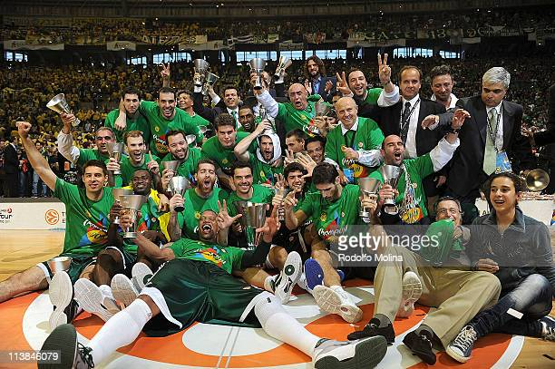 New champions for 2011 Panathinaikos pose for a team photo during the Champions Awards Ceremony of Turkish Airlines Euroleague Final Four at Palau...