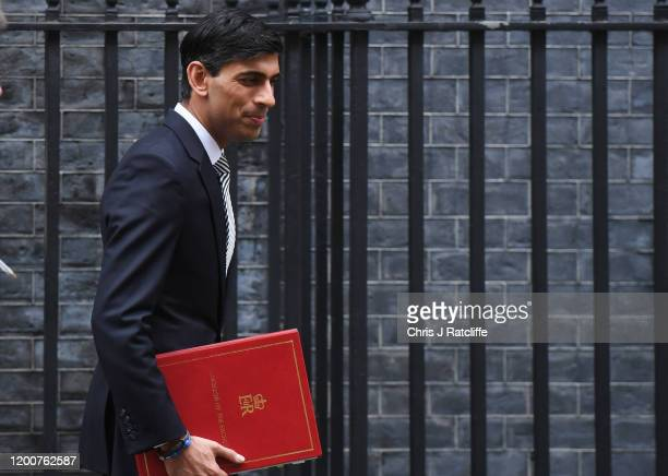 New Chancellor of the Exchequer Rishi Sunak departs following a cabinet meeting at Downing Street on February 14 2020 in London England The Prime...