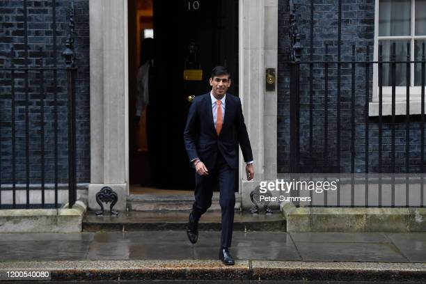 New Chancellor of the Exchequer Rishi Sunak leaves 10 Downing Street on February 13 2020 in London England The Prime Minister makes adjustments to...