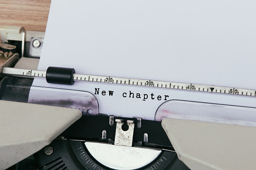 New Chapter Typed on Vintage Typewriter - gettyimageskorea
