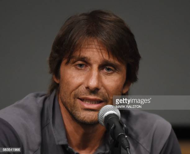 New Chelsea coach Antonio Conte speaks during a press conference before their International Champions Cup game against Liverpool at the UCLA Campus...