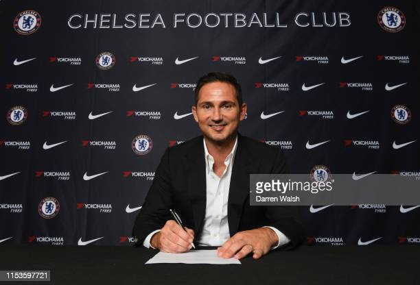 New Chelsea manager Frank Lampard signs his contract as he is announced as new manager of Chelsea at Stamford Bridge on July 3 2019 in London England