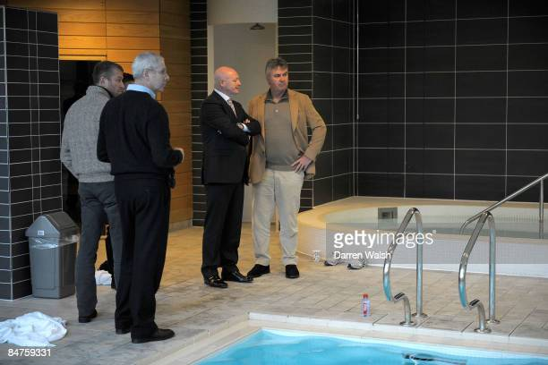 New Chelsea manager Guus Hiddink has a guided tour of the facilities by Peter Kenyon at the Chelsea FC training ground on February 12 2009 in Cobham...