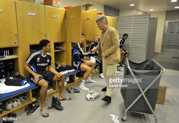 New Chelsea manager Guus Hiddink shakes hands with Franco DiSanto as he meets the players at the Chelsea FC training ground on February 12 2009 in...