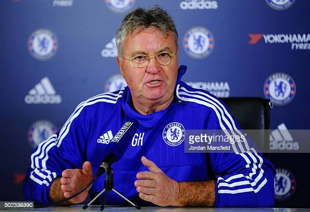 New Chelsea Manager Guus Hiddink talks during a press conference at Chelsea Training Ground on December 23, 2015 in Cobham, England.