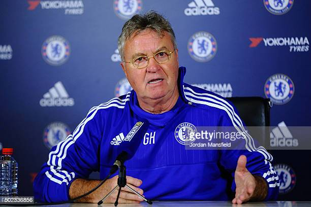 New Chelsea Manager Guus Hiddink talks during a press conference at Chelsea Training Ground on December 23 2015 in Cobham England
