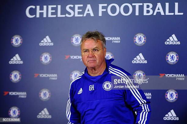 New Chelsea Manager Guus Hiddink walks in ahead of a press conference at Chelsea Training Ground on December 23 2015 in Cobham England