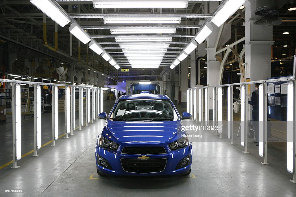 A new Chevrolet Aveo automobile, a division of General Motors Co. (GM), stands on the production line after assembly at the GAZ Group plant in Niznhy Novgorod, Russia, on Tuesday, Feb. 5, 2013. GAZ, which is controlled by Russian billionaire Oleg Deripaska, plans to make 30,000 Aveo sedans and hatchbacks a year at its plant in Nizhny Novgorod starting in mid-2012. Photographer: Alexander Zemlianichenko Jr./Bloomberg via Getty Images