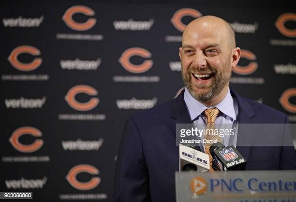New Chicago Bears head coach Matt Nagy laughs as he speaks to the media during an introductory press conference at Halas Hall on January 9 2018 in...