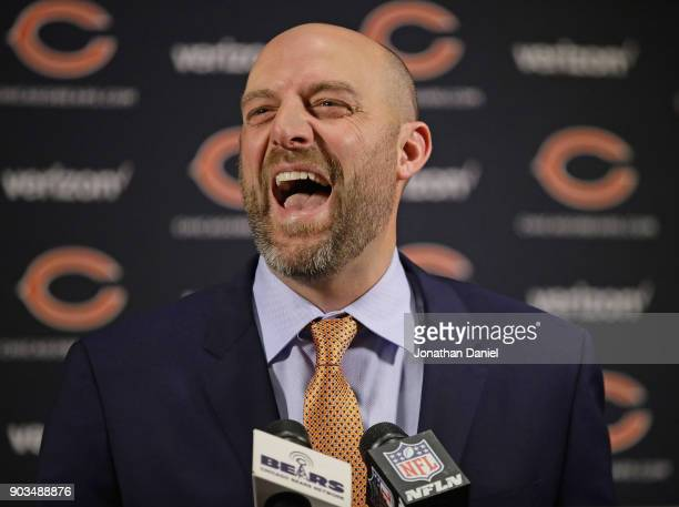 New Chicago Bears head coach Matt Nagy laughs as he speaks to the media during an introductory press conference at Halas Hall on January 9, 2018 in...